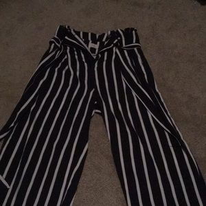 navy blue and white stripes wide leg pants